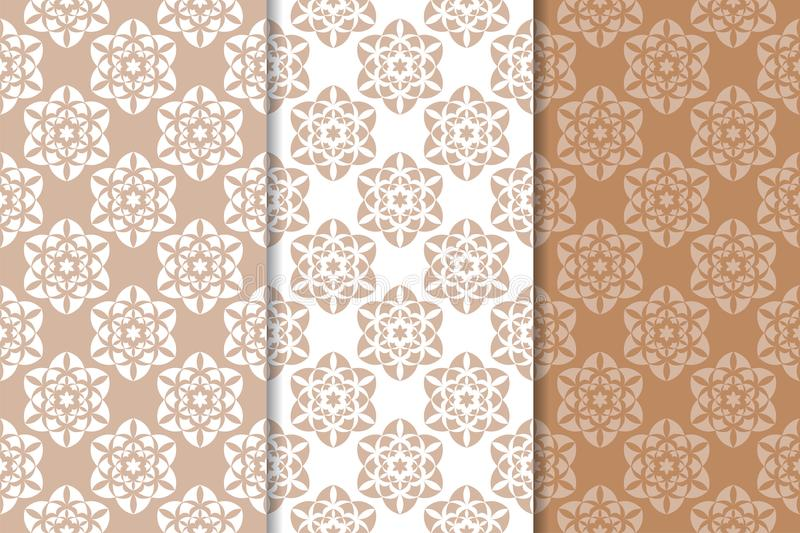 Set of floral ornaments. Brown, beige and white seamless patterns stock illustration