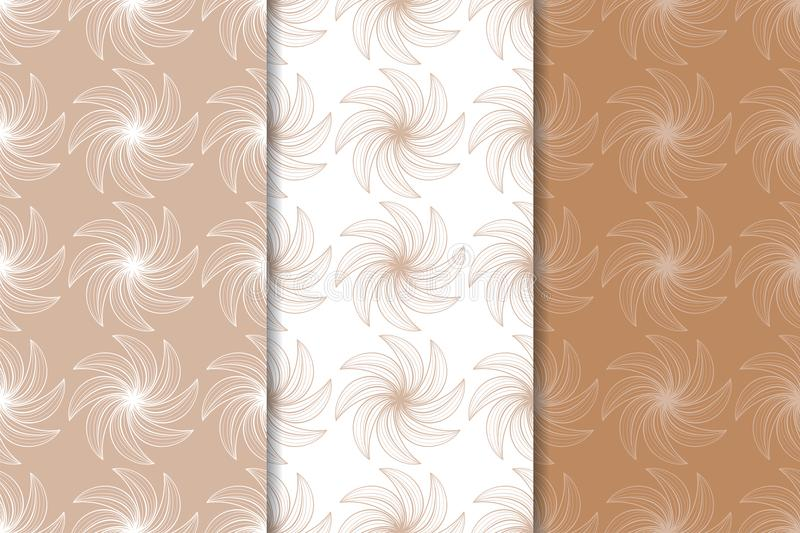 Set of floral ornaments. Brown, beige and white seamless patterns royalty free illustration