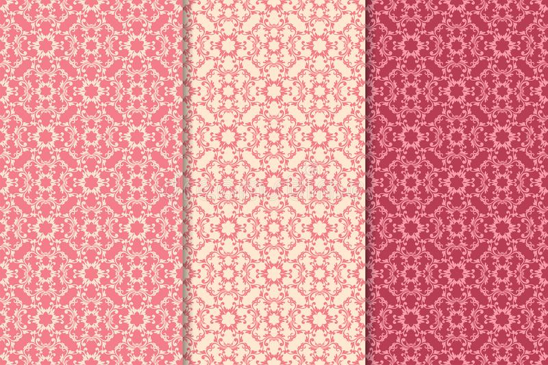 Set of floral ornaments. Cherry pink vertical seamless patterns stock illustration