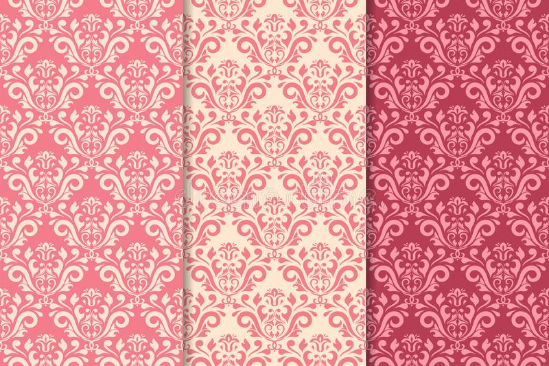 Set of floral ornaments. Cherry pink vertical seamless patterns royalty free illustration