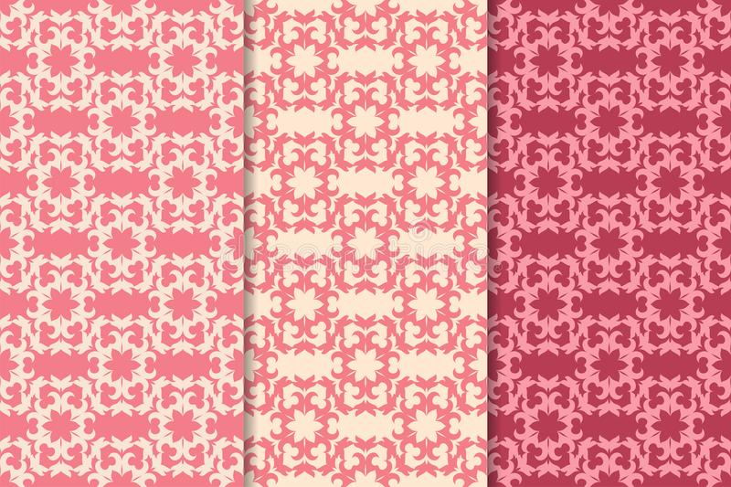 Set of floral ornaments. Cherry pink vertical seamless patterns vector illustration