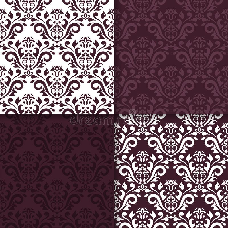 Wallpaper set of maroon seamless patterns with floral ornaments vector illustration
