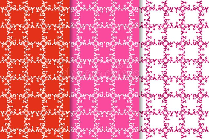 Set of floral ornaments. Red fuchsia seamless patterns vector illustration
