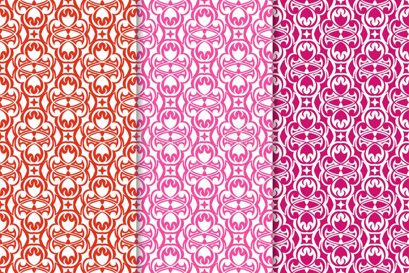 Set of floral ornaments. Red fuchsia seamless patterns royalty free illustration