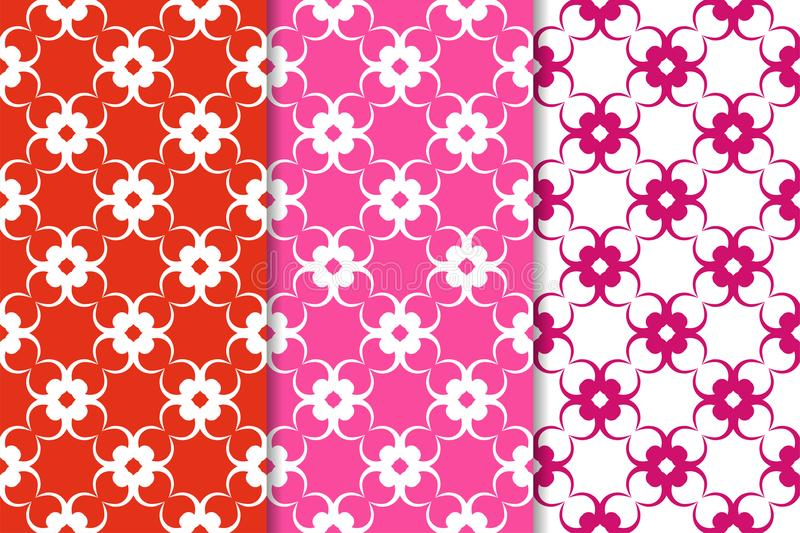 Set of floral ornaments. Red fuchsia seamless patterns stock illustration