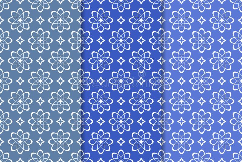 Set of floral ornaments. Vertical blue seamless patterns vector illustration