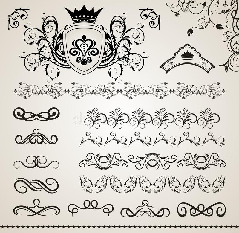 Free Set Floral Ornate Design Elements (5) Royalty Free Stock Photography - 20354987
