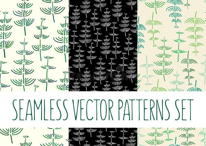 Set of floral patterns with fern stock photography
