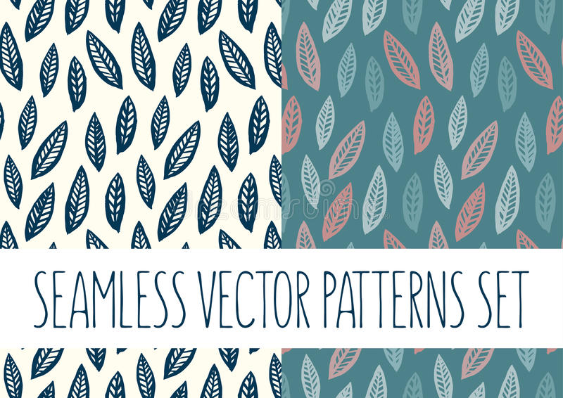 Set of floral patterns with leafs stock images