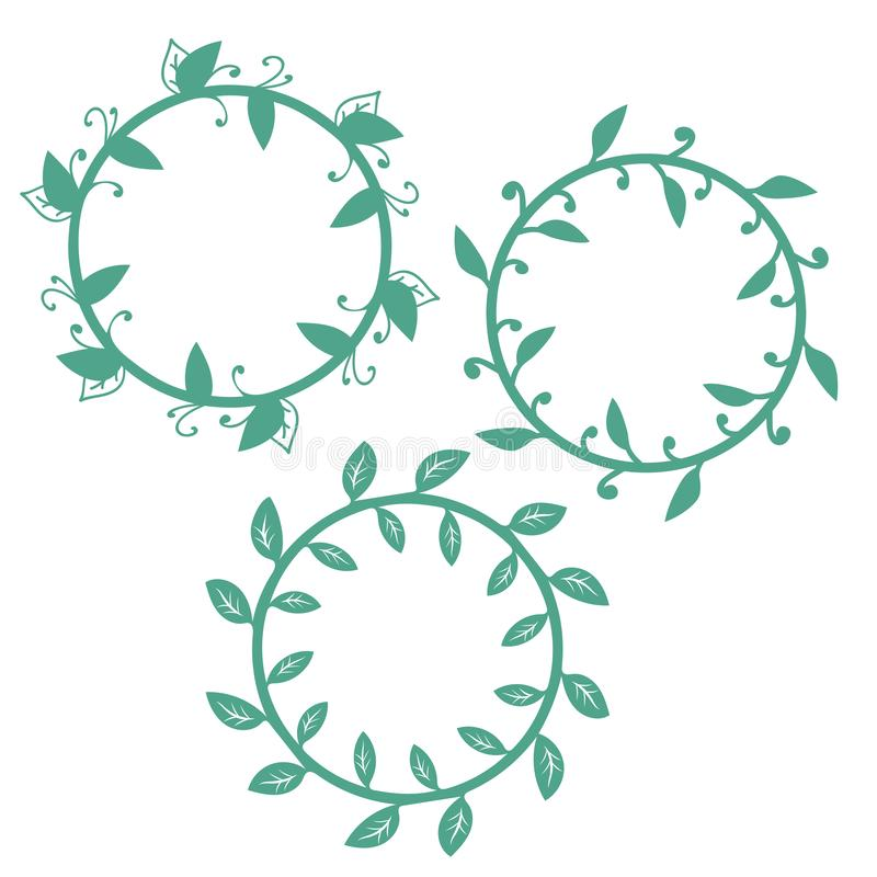 Set of floral round frames  isolated on white background. vector illustration