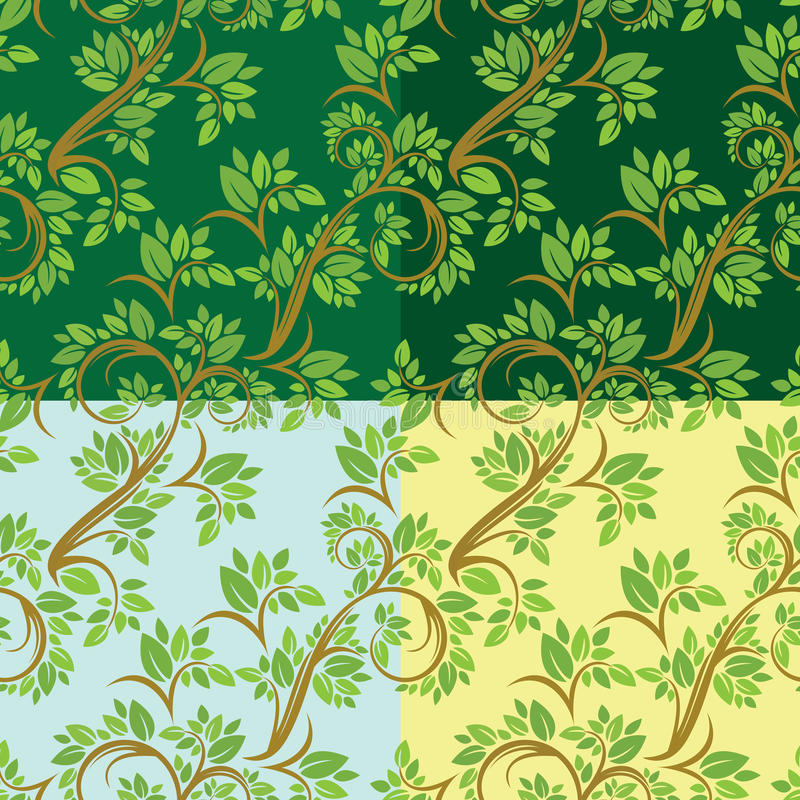 Set of Floral seamless pattern, detailed ornament with olive tree leaves and curled branches on different colors background. stock illustration