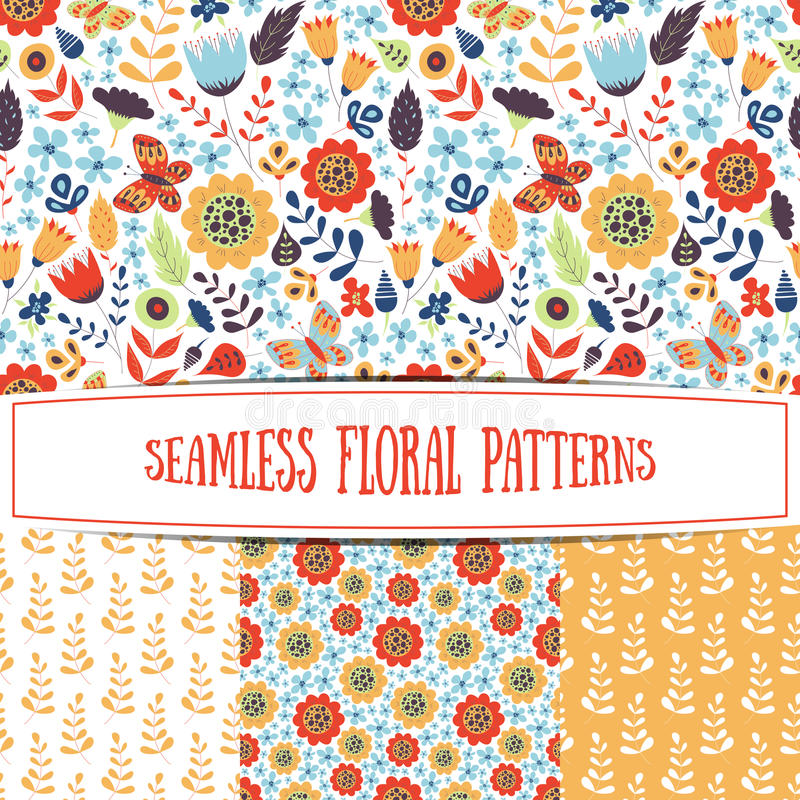 Set of floral seamless patterns vector illustration