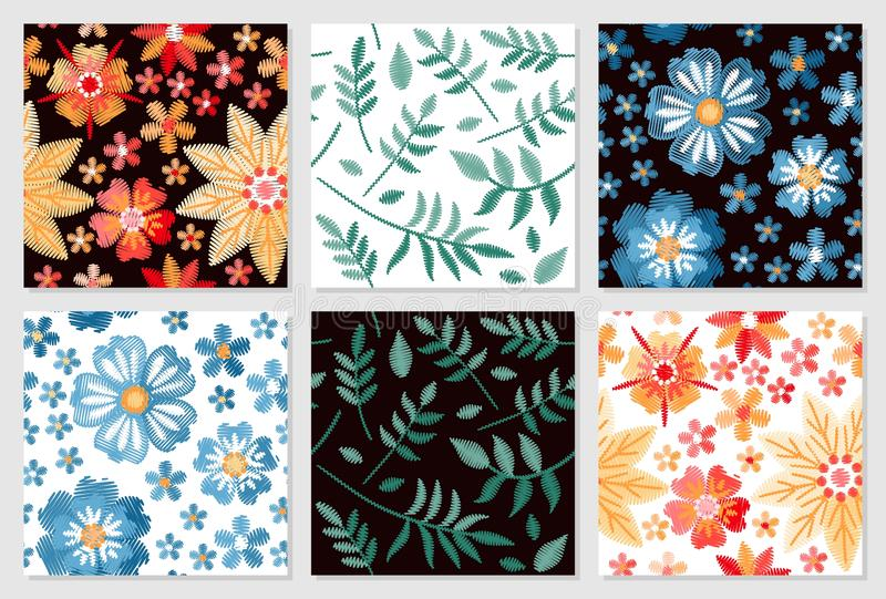 Set of floral seamless patterns. Embroidery of flowers and leaves on white and black background. royalty free illustration