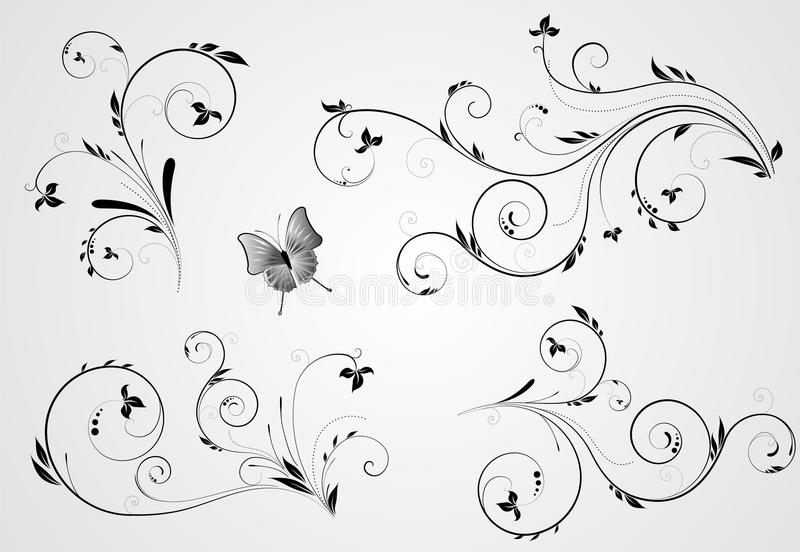 Set Of Floral Swirl Designs Stock Photos