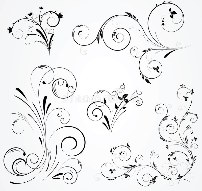 Set Of Black Flower Design Elements Royalty Free Stock: Set Of Floral Swirl Designs Stock Vector