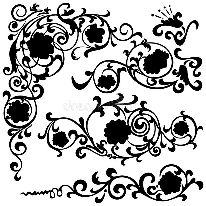 Set Of Black Flower Design Elements Royalty Free Stock: Set Floral Swirling Pattern, Silhouette Black Stock Vector