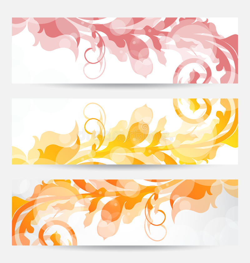 Set floral templates with changing autumnal colors royalty free illustration