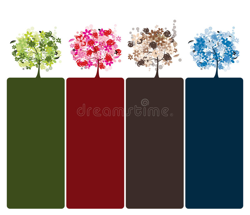 Set of floral trees beautiful stock photo