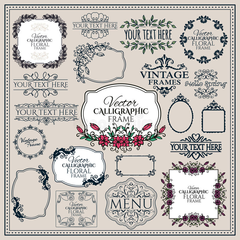 Set of floral vintage calligraphic frames and stock illustration