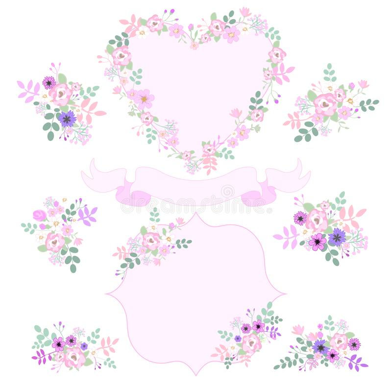 Set of vintage pink and purple flowers isolated on white background. Template for wedding card, invitations. heart shape, ribbon b royalty free illustration