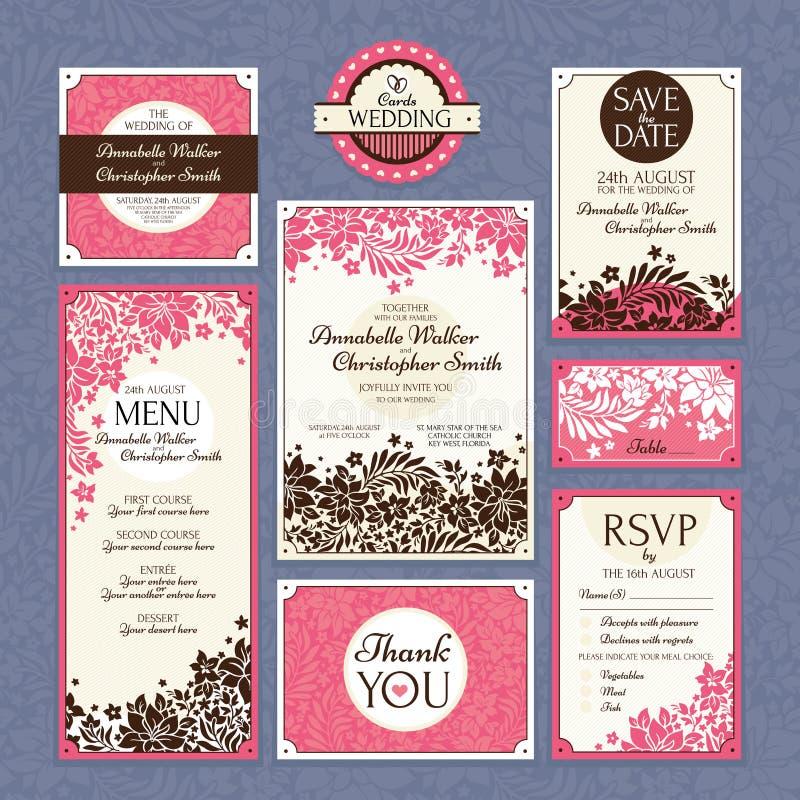 Set of floral wedding cards royalty free illustration