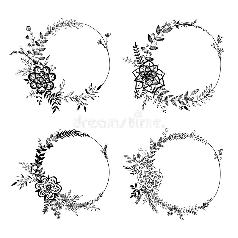Set of floral wreaths stock vector illustration of drawing download set of floral wreaths stock vector illustration of drawing 50378933 junglespirit Image collections