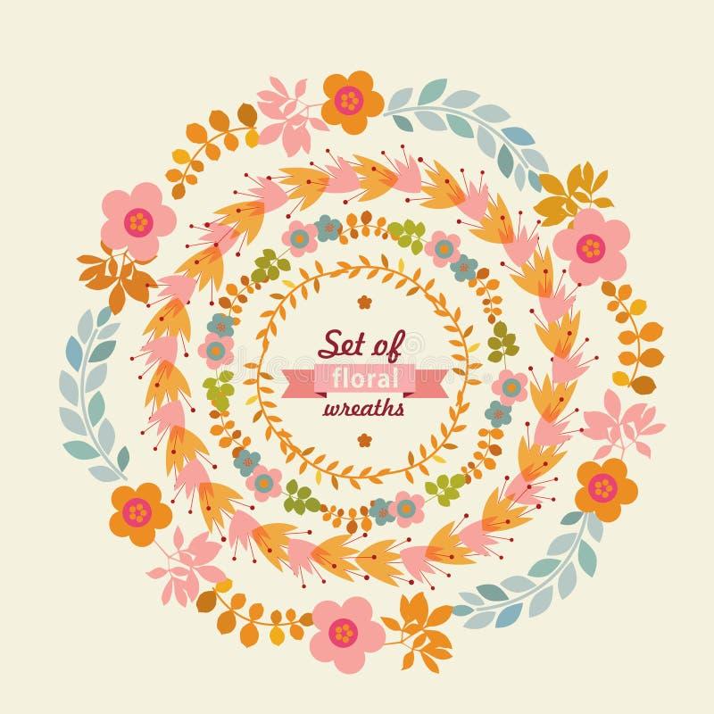 Set of floral wreaths. Vector illustration stock illustration