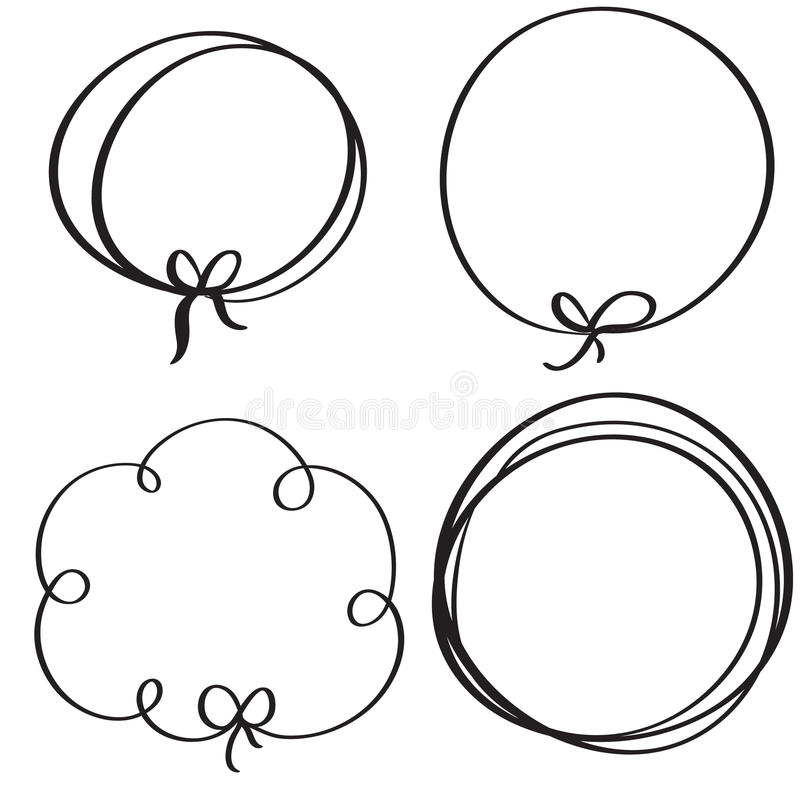Set of flourish calligraphy vintage doodle frame. Illustration vector hand drawn EPS 10.  vector illustration