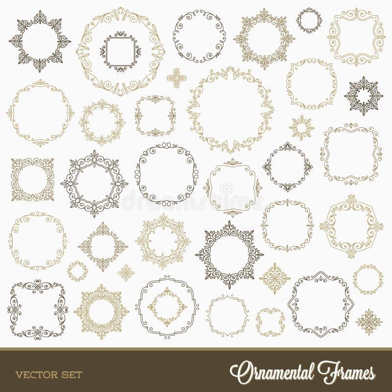 Set of flourishes frames stock illustration
