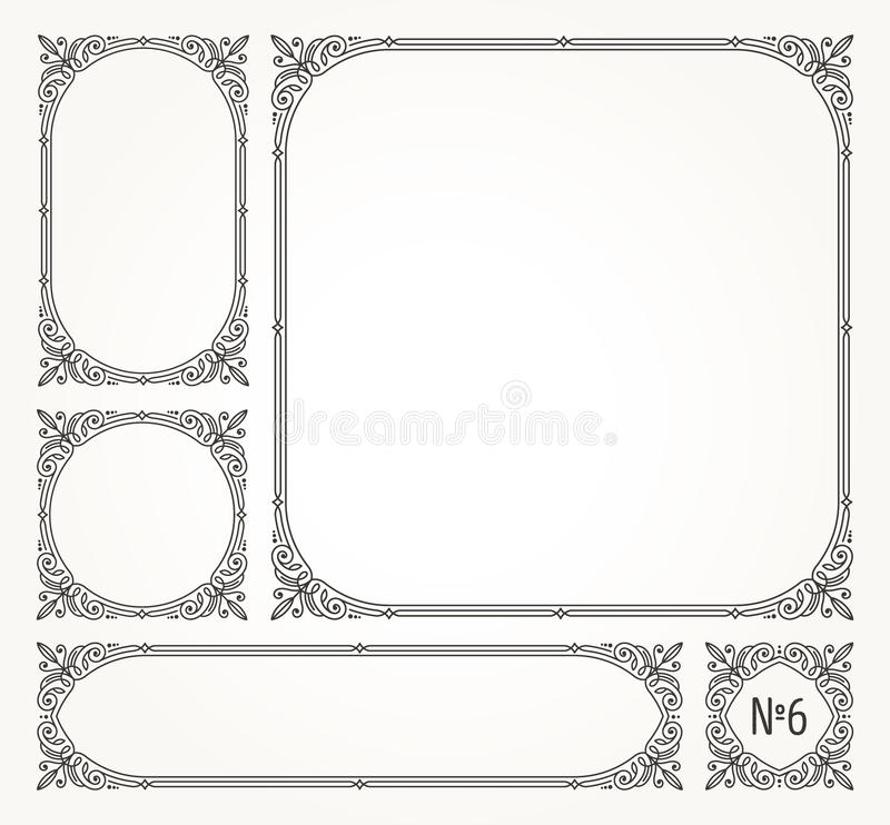 Set of flourishes ornamental frames stock illustration