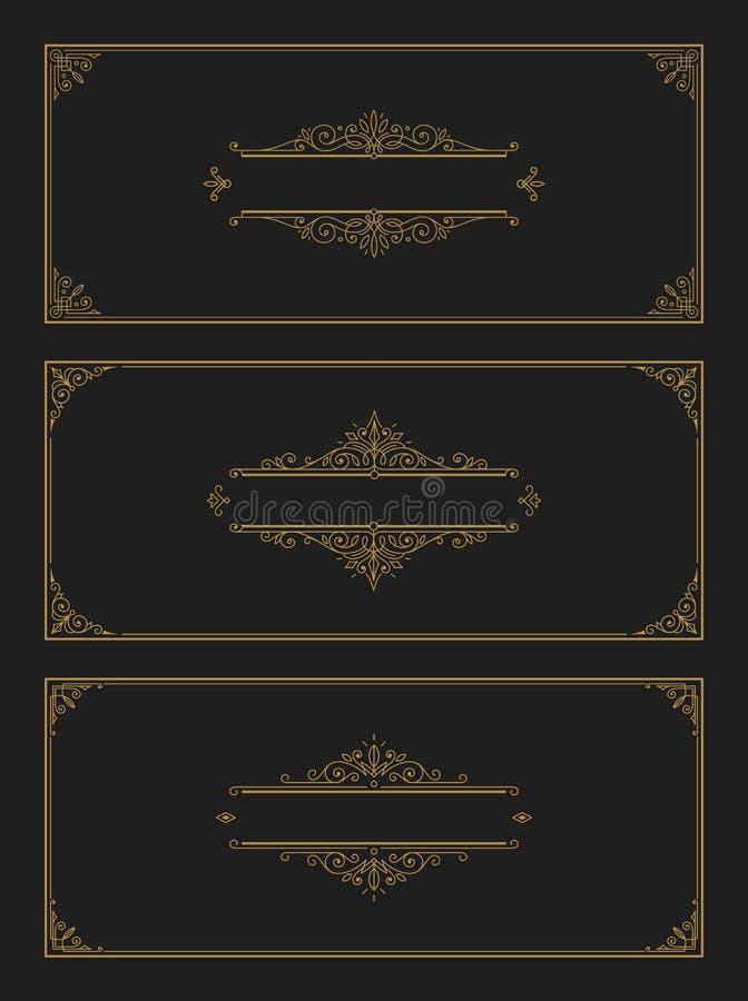 Set of flourishes and ornamental vector vintage design for invitation or greeting card. vector illustration