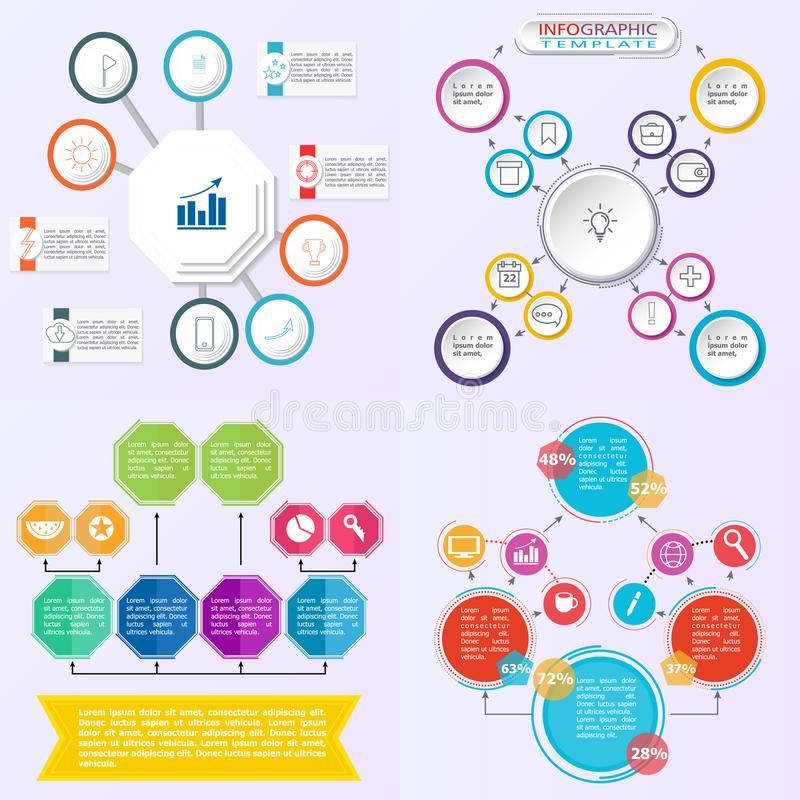 Set of flowchart elements different arrows for creating personalized charts. royalty free illustration