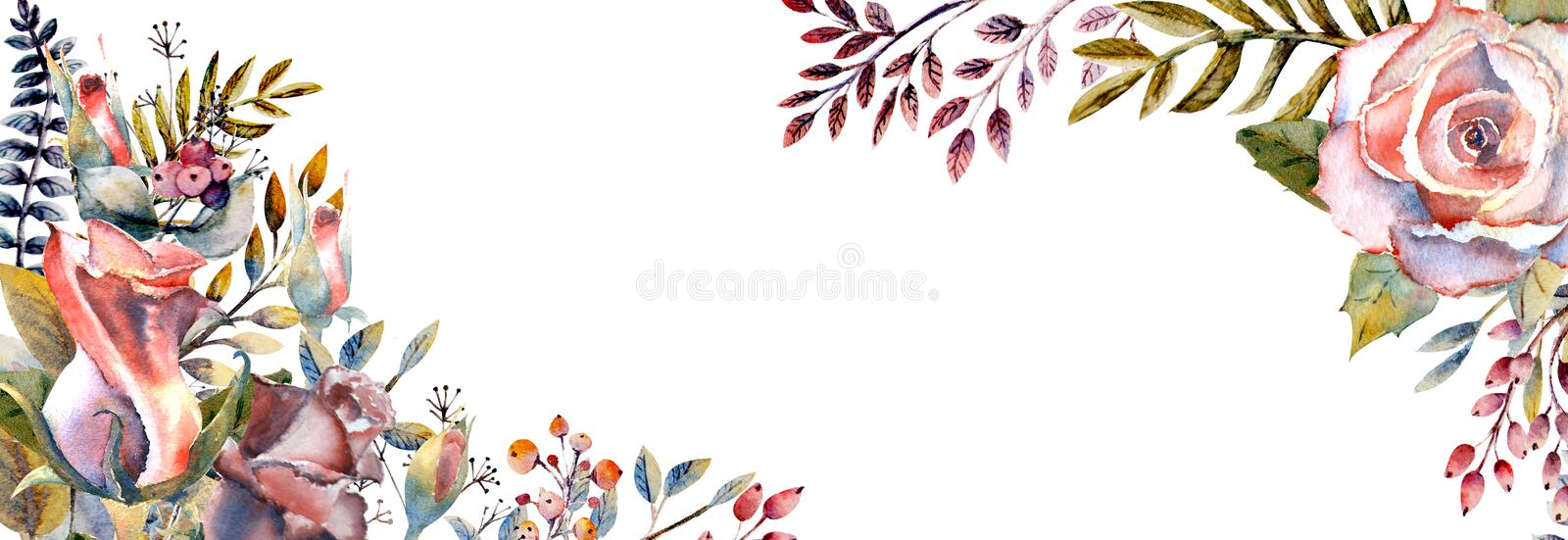 Set of flower branches. Pink rose flower, green leaves, red . Wedding concept with flowers. Floral poster, invitation stock illustration