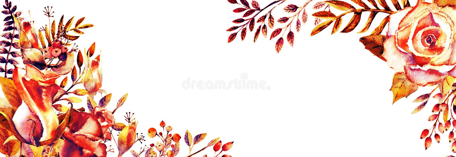 Set of flower branches. Pink rose flower, green leaves, red . Wedding concept with flowers. Floral poster, invitation. Watercolor vector illustration