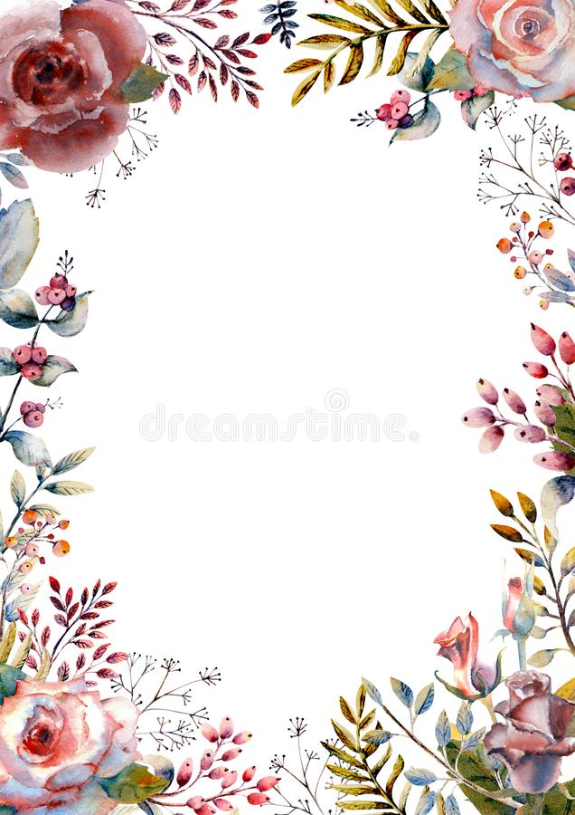 Set of flower branches. Pink rose flower, green leaves, red . Wedding concept with flowers. Floral poster, invitation vector illustration
