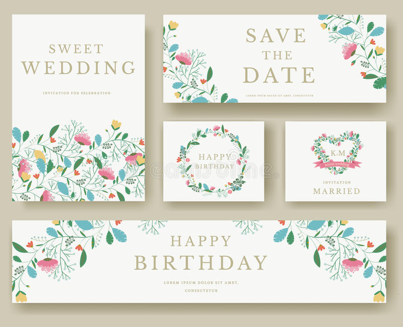 Set of flower invitation cards colorful greeting wedding invitation set of flower invitation cards colorful greeting wedding invitation card illustration set wedding vector design concept collection stopboris Images