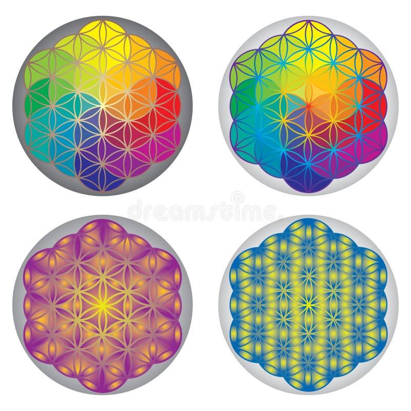 Set of Flower of Life Symbols - Rainbow Colors stock illustration