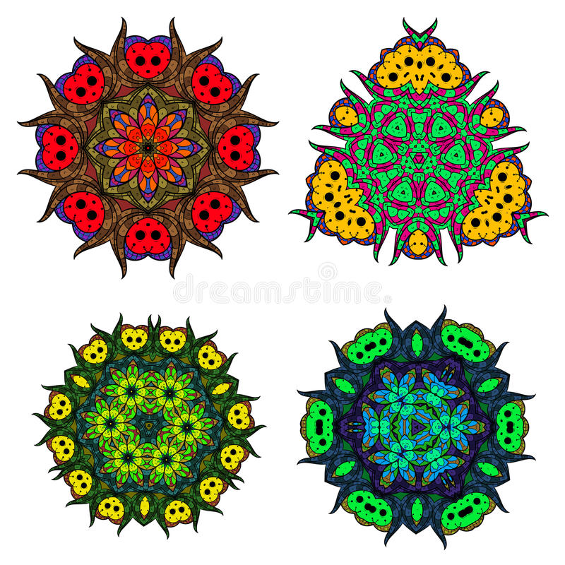 Set of flower mandalas/Abstract round ornament/Vector mandala set/Mandala design stock illustration