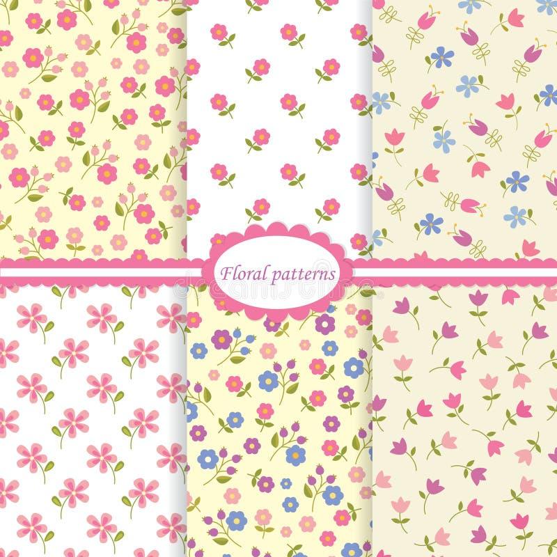 Set of flower seamless patterns vector illustration