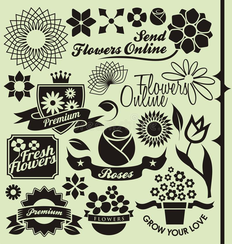 Download Set Of Flower Symbols, Icons And Signs Stock Vector - Image: 29243536