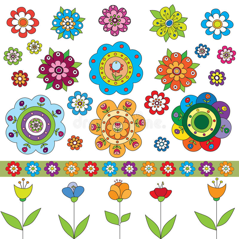 Set Of Flowers Royalty Free Stock Images