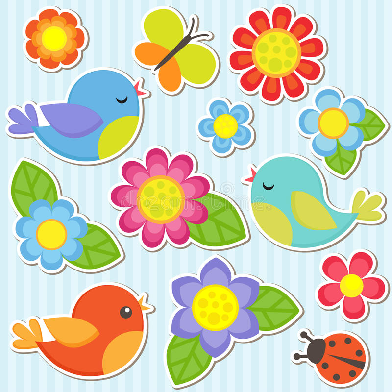 Set of flowers and birds royalty free illustration