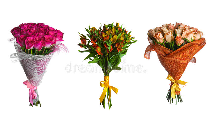 Set flowers bouquet isolated. Rose flowers bouquet isolated on white royalty free illustration