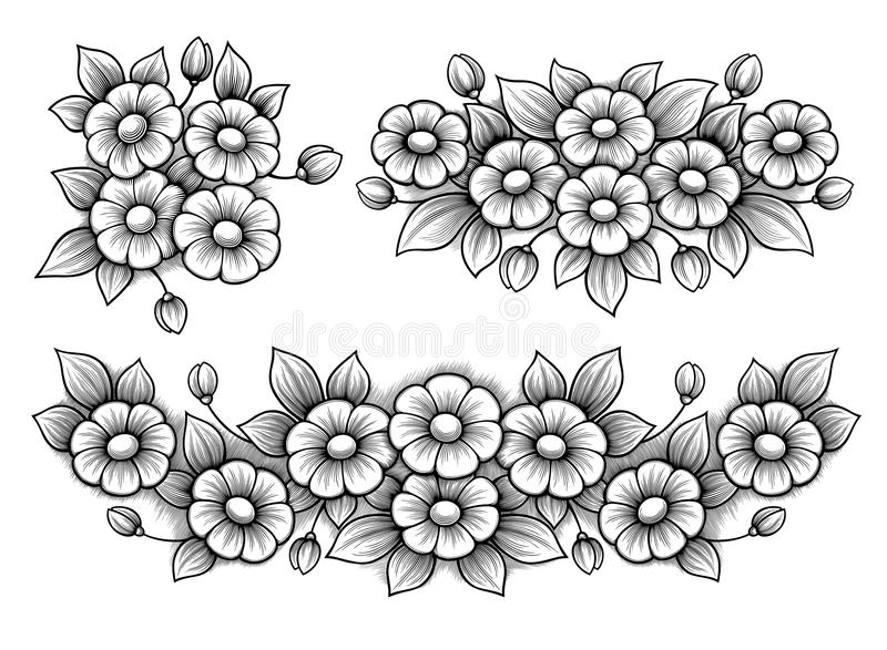 Set flowers daisy bunch vintage Victorian frame border floral ornament engraved retro tattoo black and white calligraphic vector stock illustration