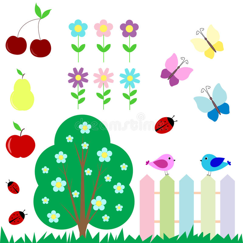 Download Set Of Flowers, Fruits, Butterflies, Birds Stock Vector - Image: 24259678