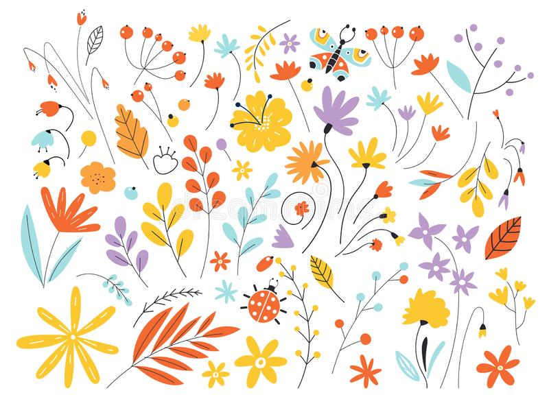 Set of flowers and leaves in a flat style isolated on white background. Hand Drawn vintage floral elements. Floral royalty free illustration
