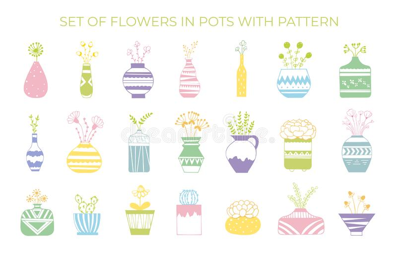 A set of flowers in pots with a pattern stock illustration
