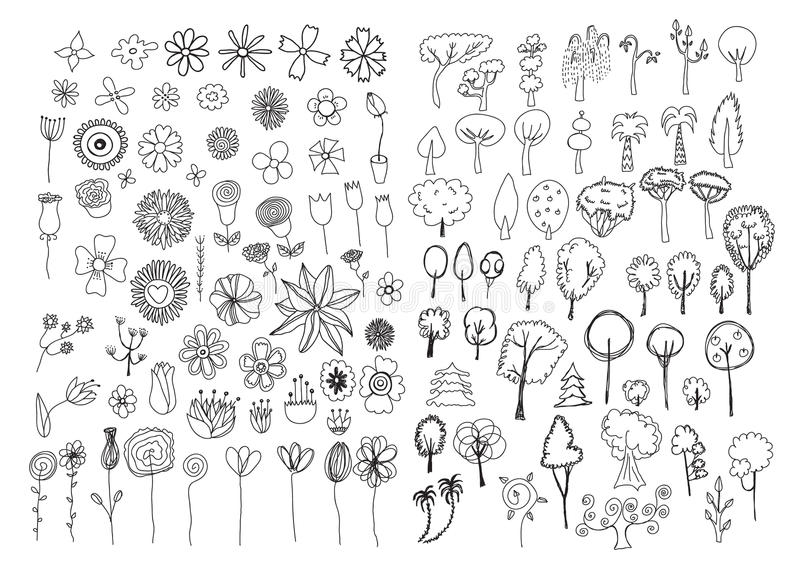 Set of flowers and trees doodles stock illustration