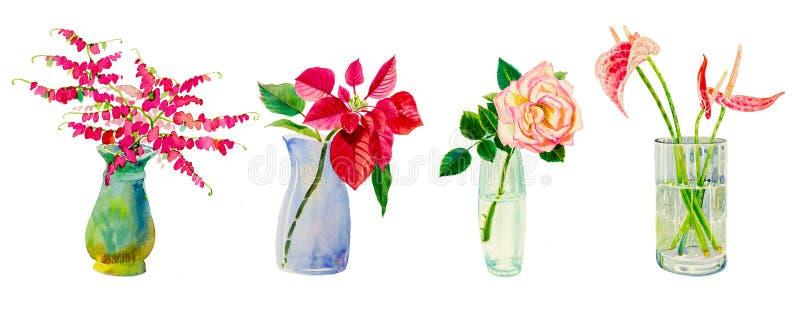 Set flowers in vases glass. vector illustration
