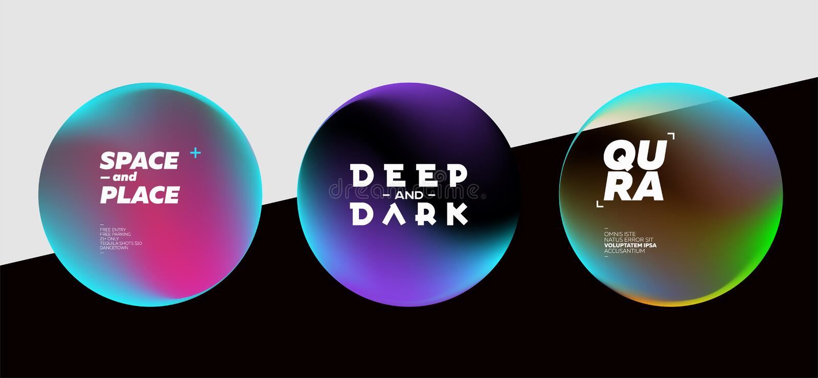 Set of Fluid Dark Shapes with Bright Colors. Trendy Futuristic D royalty free illustration